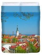 Tallinn From Plaza In Upper Old Town-estonia Duvet Cover