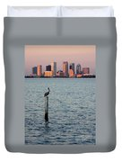 Tampa Skyline And Pelican Duvet Cover