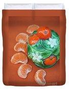 Tangerine Slices And Ceramics Duvet Cover