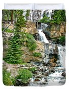 Tangle Falls Along Icefield Parkway In Alberta Duvet Cover