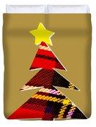 Tartan Christmas Tree On Gold Duvet Cover