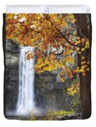 Taughannock Falls And Maple Duvet Cover