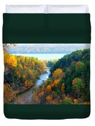 Taughannock River Canyon In Colorful Autumn Ithaca New York Panoramic Photography  Duvet Cover