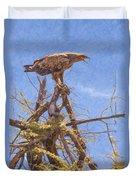 Tawny Eagle  Aquila Rapax Calling From  Acacia Bush Duvet Cover