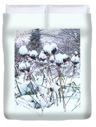 Tea Cups Of Snow Duvet Cover