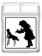 Tea Party Dolly Silhouette Duvet Cover