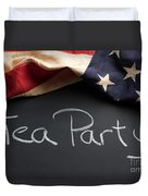 Tea Party Political Sign On Chalkboard Duvet Cover
