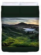 Tea Plantation At Dawn Duvet Cover