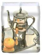 Tea Service With Orange Dramatic Duvet Cover