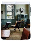 Teacher - One Room Schoolhouse With Clock Duvet Cover by Susan Savad