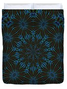 Teal And Brown Floral Abstract Duvet Cover