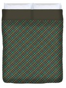 Teal And Green Diagonal Plaid Pattern Fabric Background Duvet Cover