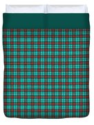 Teal Red And Black Plaid Fabric Background Duvet Cover