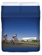 Team Time Trial Chasing A Tanker Truck Duvet Cover