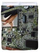Circuit Board Electronic Art Technobat Abstract Duvet Cover