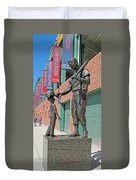 Ted Williams Statue Duvet Cover