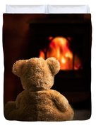 Teddy By The Fire Duvet Cover