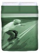 Teenager Skateboarding Down Road Duvet Cover