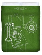 Telephone Patent Drawing From 1898 - Green Duvet Cover