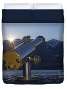 Telescope And Sunrise Duvet Cover
