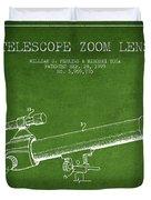 Telescope Zoom Lens Patent From 1999 - Green Duvet Cover