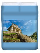 Temple And Blue Sky Duvet Cover