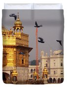 Temple At The Waterfront, Golden Duvet Cover
