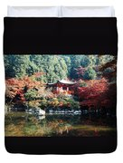 Temple Behind A Pond, Daigo-ji Temple Duvet Cover