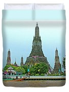 Temple Of The Dawn-wat Arun From Waterways Of Bangkok-thailand Duvet Cover
