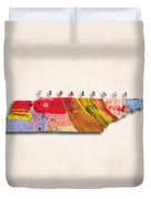Tennessee Map Art - Painted Map Of Tennessee Duvet Cover