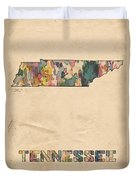 Tennessee Map Vintage Watercolor Duvet Cover
