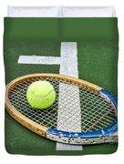 Tennis - Wooden Tennis Racquet Duvet Cover