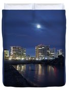 Tent City At Night Duvet Cover