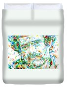 Terence Mckenna - Watercolor Portrait Duvet Cover