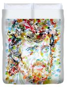 Terence Mckenna - Watercolor Portrait.3 Duvet Cover