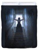 Terrified Woman Alone Duvet Cover