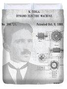 Tesla A / C Current Patent Art 1888 Duvet Cover