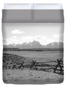 Teton Landscape With Fence - Black And White Duvet Cover