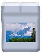 Teton Peaks Through Clouds In Grand Teton National Park-wyoming   Duvet Cover