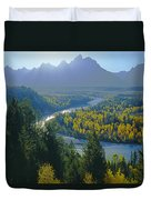 2m9301-teton Range From Snake River Overlook Duvet Cover