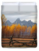 1m9354-teton Range In Autumn From Jackson Hole Ranch Country Duvet Cover