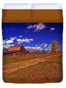 Tetons And Gambrel Barn Perspective Duvet Cover