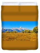Tetons Autumn Panorama Duvet Cover