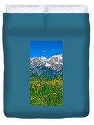 Tetons Peaks And Flowers Center Panel Duvet Cover