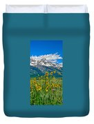 Tetons Peaks And Flowers Right Panel Duvet Cover