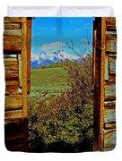 Tetons Through Log House Window Duvet Cover