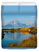 Tetons With Moose Duvet Cover