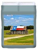 Texas Barn Flag Duvet Cover