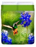 Da161 Texas Bluebonnet Hummingbird By Daniel Adams Duvet Cover