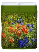 Texas Bluebonnets And Red Indian Paintbrush Duvet Cover